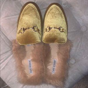 Pretty velvet yellow loafers